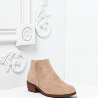 Taupe Suedette Slip On Ankle Booties