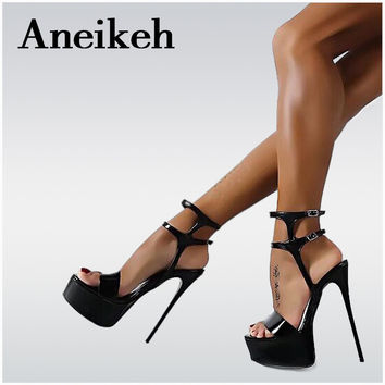Aneikeh Platform Summer Sandals Style Sexy 16cm Women Sandals high heels Open Toe Buckle Nightclub Shoes Black Big Size 40