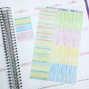 38 Matte Lined Watercolor Lines 'Washi' Die-Cut Stickers // (Perfect for Erin Condren Life Planners)