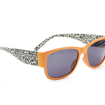 Leopard Orange Sunglasses Wayfarer Style Unique Glasses 009