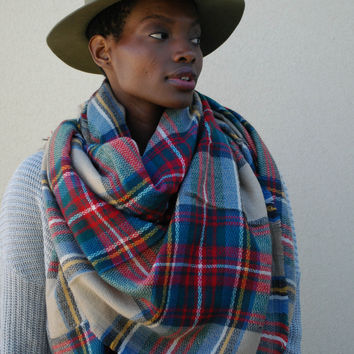 Plaid Blanket Scarf - Berry