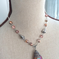 Autumn Amber Crystal Pendant Necklace - Fall Jewelry