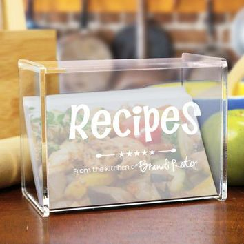 Engraved Kitchen Recipe Acrylic Recipe Box