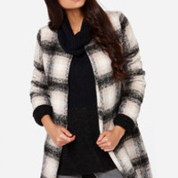 Totes Ma Coats Black and Tan Plaid Coat