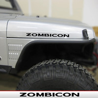 ZOMBICON (rubicon style font) Hood Decals for Jeep