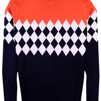 Color Block Diamond Pattern Paneled Knit Pullover Sweater