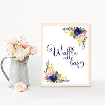 Wedding dessert table sign, Waffle bar sign printable, Navy blue wedding sign, Waffle sign, Dessert bar sign, Navy wedding table decorations