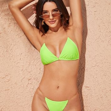 Neon Green Triangle Halter Top With Tanga Bikini