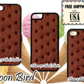 Ice Cream Sandwich Treat Inspired Phone Case For Apple iPhone 4, 4s, 5, 5s, 5c, 6, iPod Touch 5. Black, White or Clear Phone Case