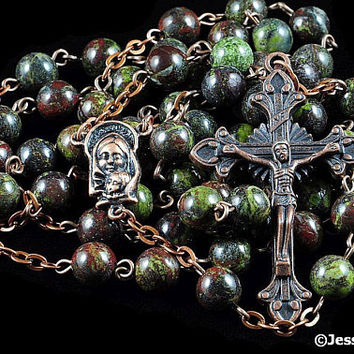 Catholic Rosary Beads Rustic Red Green Dragon Blood Copper Natural Stone Traditional Jasper Rosary Five Decade Catholic Gift