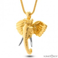 King Ice 14K Gold Elephant King Necklace
