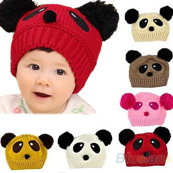 Cute Baby Girl Boy Toddler Winter Warm Knit Crochet Panda Hat Cap Beanie RANDOM COLOR = 1958471620