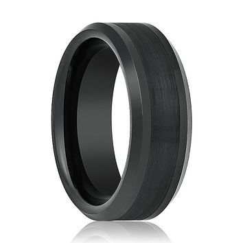 Aydins Tungsten Ring Black Brushed Center Beveled Edge Wedding Band 8mm Polished Tungsten Carbide Wedding Ring