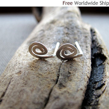 Tiny Spiral Stud Earrings. Mini Swirl Sterling Silver Earrings. Handmade Small post Earrings. Fashion Jewelry - Minimalist Jewelry