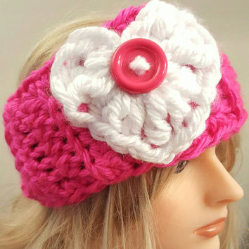 Crochet valentine heart Ear warmer. Headband. Made by Bead Gs on ETSY. Neon pink Ladies size.