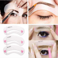Women's Beauty Makeup Magic Eyebrow Drawing Shaping Stencil Card Built-in 3 Styles = 1705947396