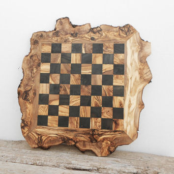 Fatheru0027s Day Gift, 20 Inch Rustic Wooden Chess Board Set, Engrav