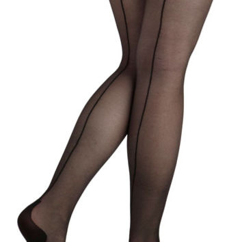 ModCloth Film Noir Seam to It Thigh Highs in Black