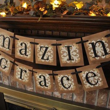 Amazing Grace Inspirational Banner Garland Spiritual Hymn Christian Song