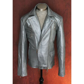 Men's Heavy 8mm Calfskin Silver Double Side Zip Biker Jacket