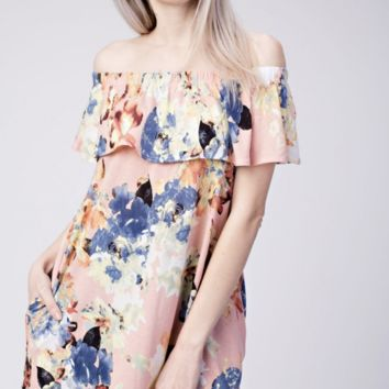 Jersey Floral Off Shoulder Pocketed Tunic Top