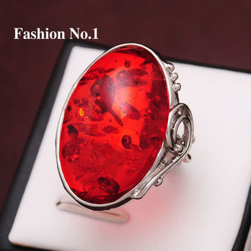 Free shipping New Arrival women Wedding Jewelry Silver Plated Amber Stone Vintage 3 Colors Crystal Rings For Women Ruby Jewelry