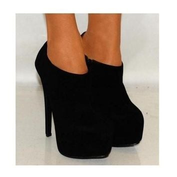 Ladies Koi Courture Black Ankle Boots Platform High Heels Peep Toes