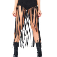 Fierce in Fringe Suede High Waisted Skort