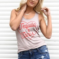 Taupe Tequila & Tacos Racerback Tank
