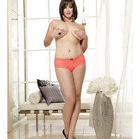 Stretch Lace Open Crotch Short Coral 1x-2x