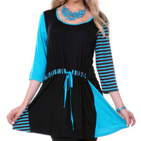 Aster Black & Blue Drawstring Scoop Neck Tunic | zulily