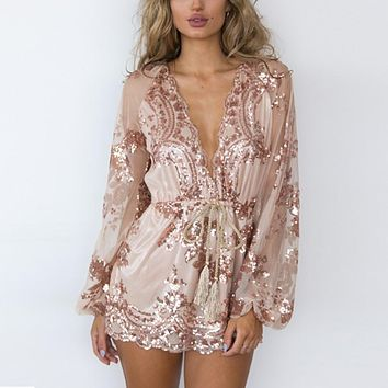 Women Bodysuits Fashion Gold Sequin Embroidery Jumpsuits Transparent Mesh Playsuits Sexy Deep V-neck Long Sleeve Bodysuits