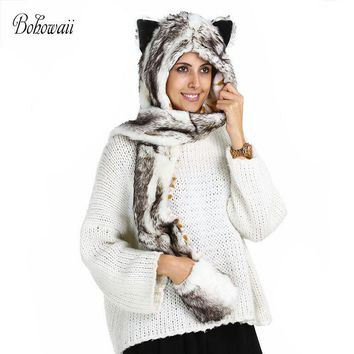 BOHOWAII Christmas Winter Hat and Scarves Stoles Set with Faux Fur Women Gloves 3 in 1 Animal Hoodie Guantes
