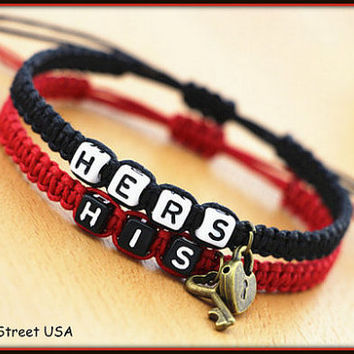 Couples Bracelets His Hers Bracelets Lovers Bracelets Boyfriend Girlfriend His Hers Lock Key Braclet BST-372