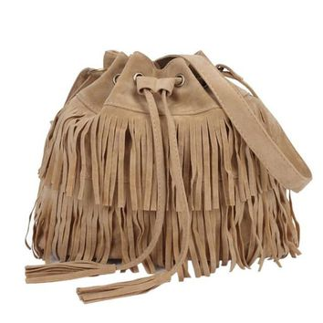 Awesome BOHO Purse  Lots and Lots Fringe!!!   Tan