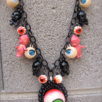 Horror Goth Creepy Eyeball Kewpie Necklace