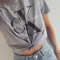 Women Casual CK Print Pattern Short Sleeve  Top Tee