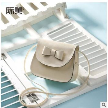 School Backpack PU leather cute bow mini children school bags kids messenger crossbody travel purse bags for teenager/ kindergaten baby girls AT_48_3