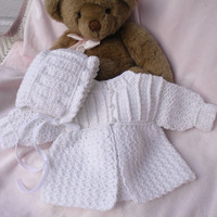 Crocheted Newborn Sweater Bonnet Baby Girl White 0 3mo Custom Order