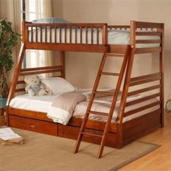 Twin Over Full Bunk Bed With Storage Space in