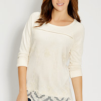 french terry pullover with lace overlay