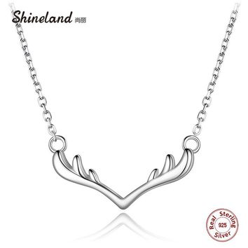 925 Sterling Silver Deer Horn Antler Animal Necklaces & Pendants