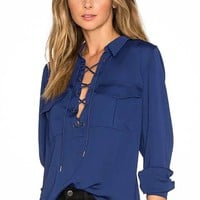 Dreamer Lace Up Blouse - Navy
