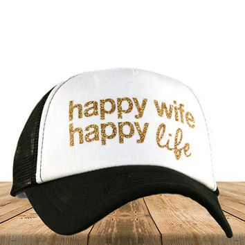 Adult Trucker Hat  Happy Wife Happy Life Glitter Trucker  Girl Trucker Hat  Funny Trucker Hat  Women's Trucker Hat   Baseball Cap