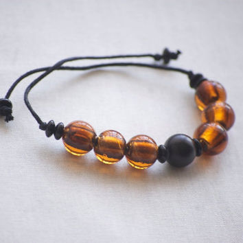 Bracelet Chunky Amber and Black Beaded Braided, Earth Tone Glass Beads