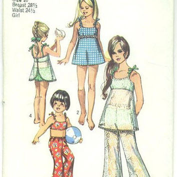 Vintage 1970s Simplicity Sewing Pattern 8813 Girls Bathing Suit Bust 28