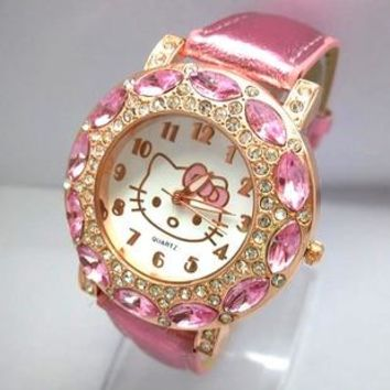 Hot Sales Lovely Hello Kitty Watch Children Girls Women Fashion Crystal Dress Quartz Wristwatches Kids Watch 1072