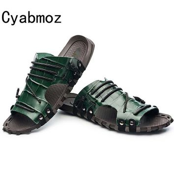 Cyabmoz Brand 2017 Men Handmade Crocodile Pattern Genuine Leather Slippers Summer Fashion Beach Sandals Shoes For Men Big Size47