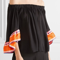 Emilio Pucci - Off-the-shoulder ruffle-trimmed silk-georgette and twill top
