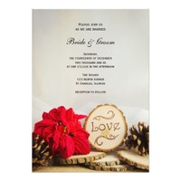 Rustic Red Poinsettia Woodland Wedding Invitation